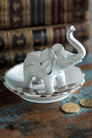 Pewter Elephant Ring Dish in White