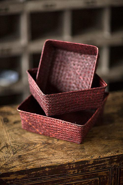 Vagabond Vintage Hand Woven Rattan Trays - Set of 3
