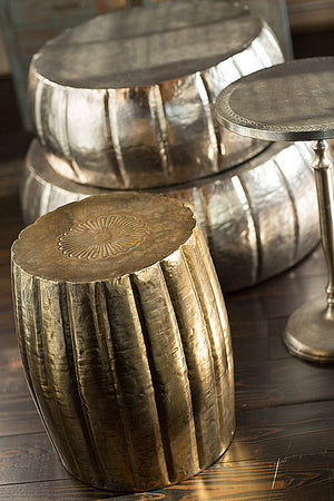 Antique Brass Finish Stool