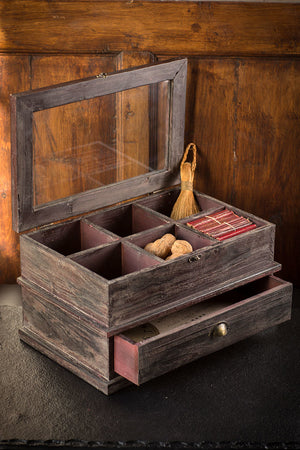 Dark Wood Compartment Box