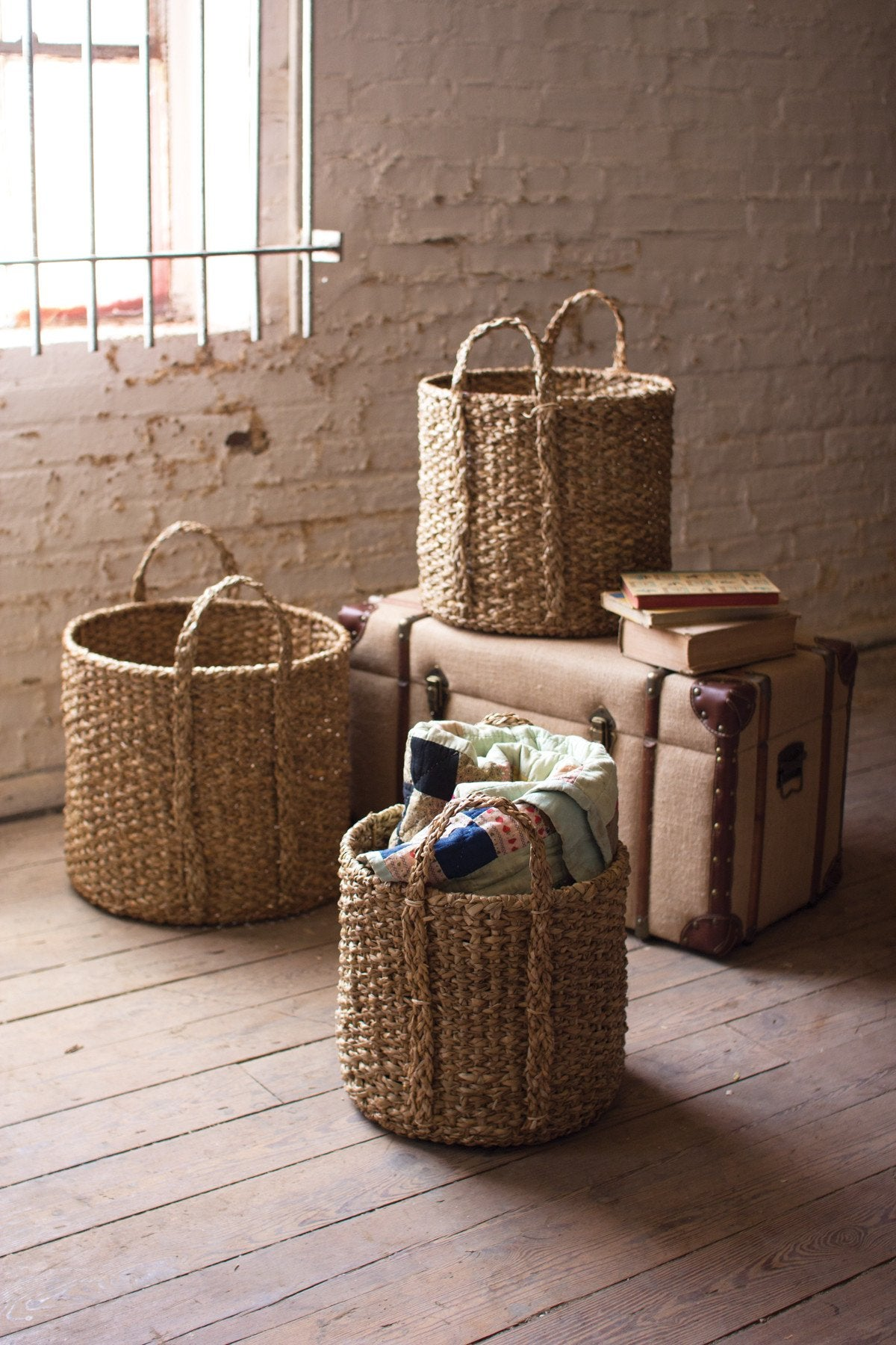 Kalalou Round Braided Seagrass Storage Basket With Handles - Set Of 3