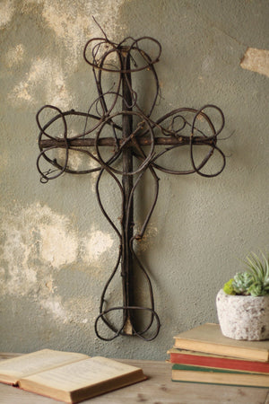 Kalalou Black Vine Decorative Cross - Set of 4