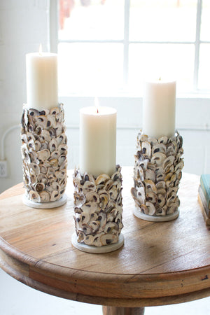 Kalalou Oyster Shell Pillar Candle Holders - Set Of 3