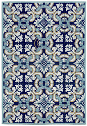 Ravella Floral Tile Navy Indoor/Outdoor Rug