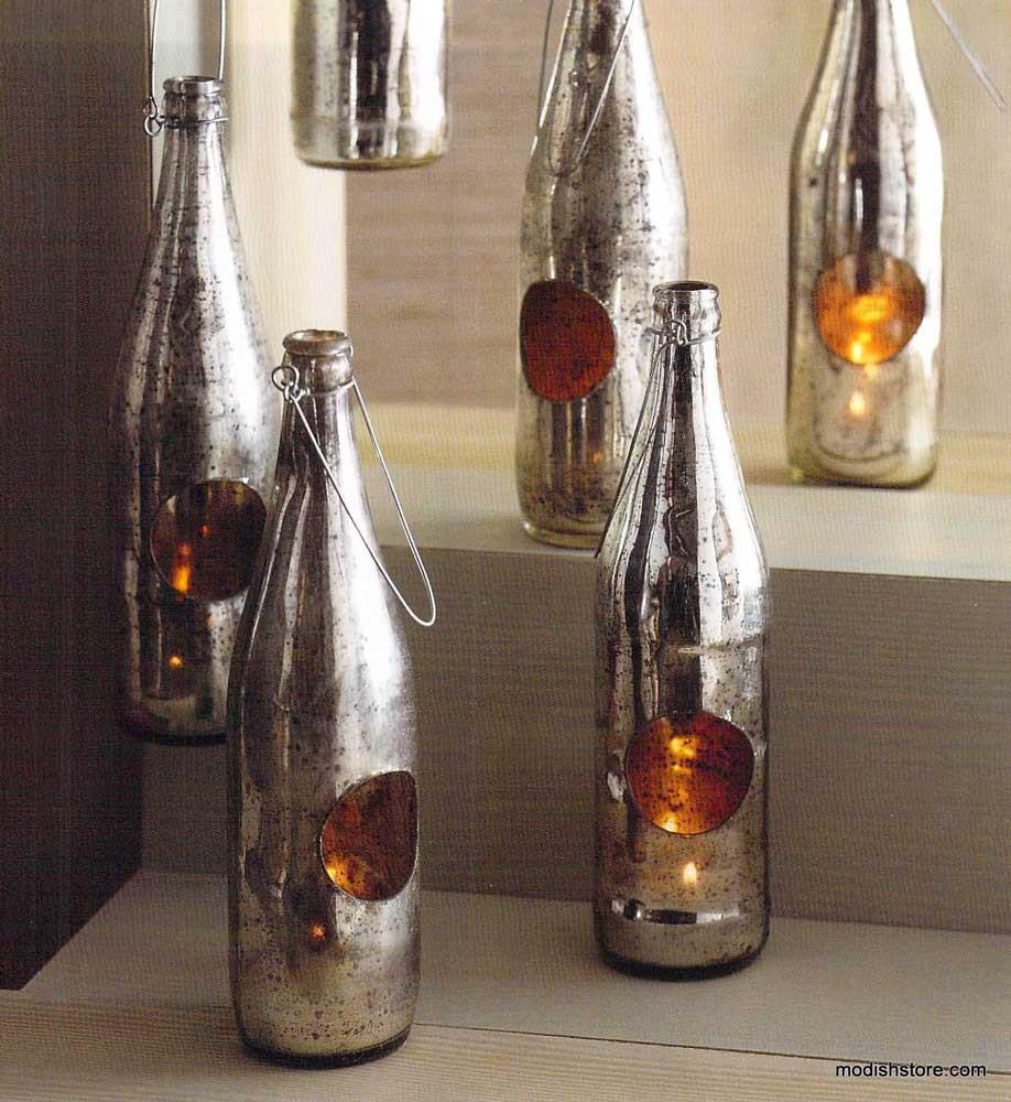 Roost Antiqued Mercury Glass Recycled Bottle Tealight Holders - Set Of 6