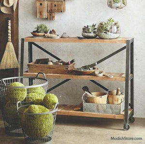 Roost Boatwood Low Shelf on Casters