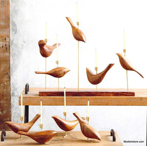 Roost Wood Carved Dove Candelabra & Candle Holders