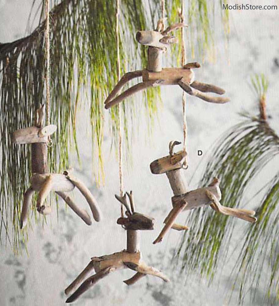 Roost Driftwood Ornaments - Reindeer - Set Of 4
