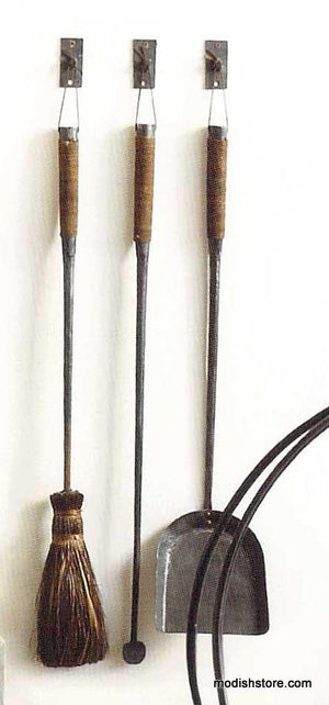 Roost Forged Iron Fireplace Tools with Hooks