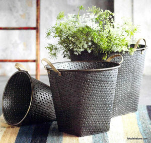 Roost Hobnail Jumbo Metal Buckets - Set Of 3