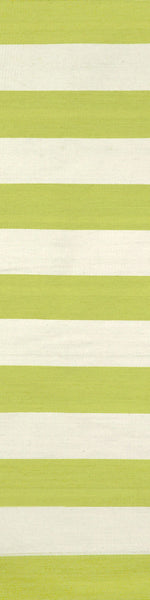 Sorrento Rugby Stripe Lime Indoor/Outdoor Rug