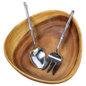 Haussmann Stainless Steel Bamboo Flattened Serving Set - Set of 2