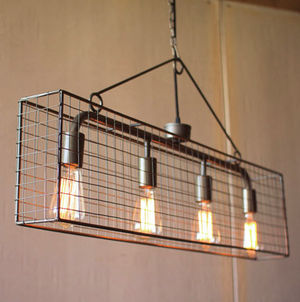 Kalalou Four Bulb Wire Mesh Horizontal Pendant Light