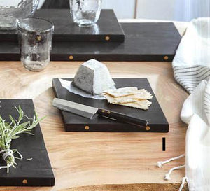 Roost Ebonized Wood Square Serving Boards