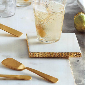 Roost Gold & Silver-Edged Marble Coasters - Set Of 2