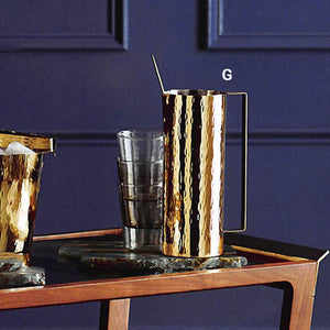 Roost Hammered Brass Cocktail Pitcher with Stirrer