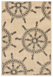 Terrace Shipwheel Neutral Indoor/Outdoor Rug