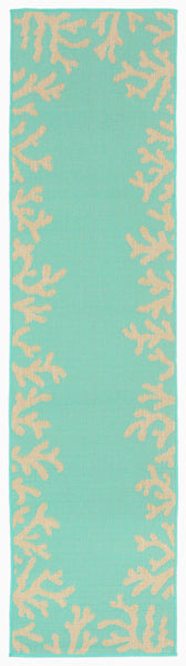 Terrace Coral Bdr Turquoise Indoor/Outdoor Rug