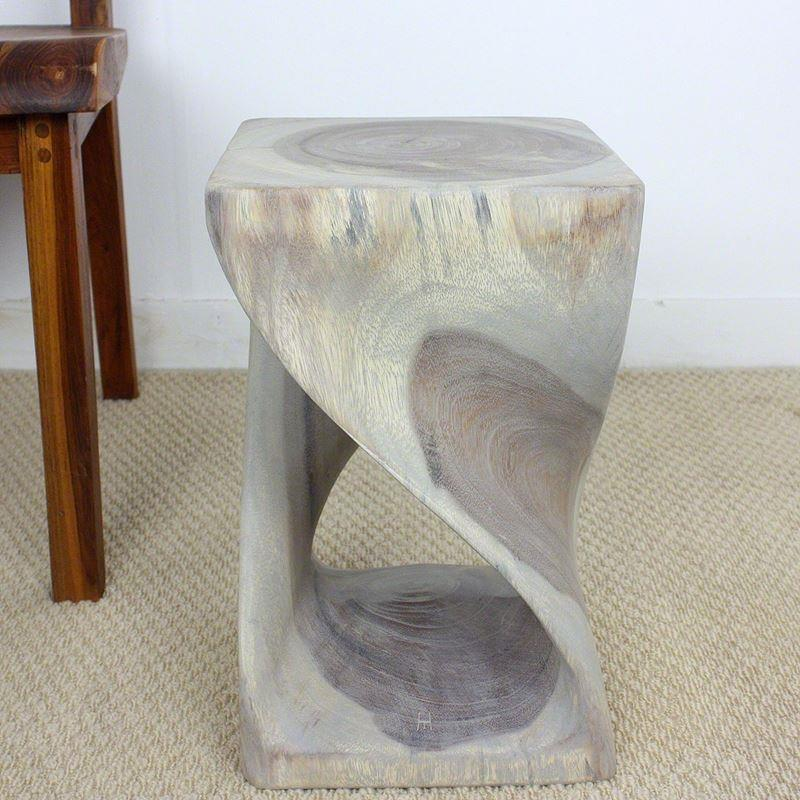 "Haussmann Twist Stool 10"" Sq - Agate Grey"
