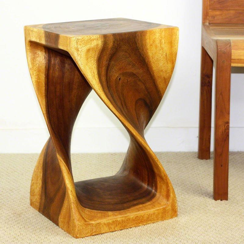 "Haussmann Twist Stool 12"" Sq - Oak"