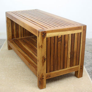 "Haussmann Teak Slat Coffee Table W/ Shelf 36"" L"