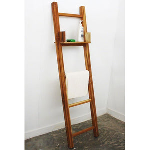 "Haussmann Teak Towel Ladder 64"" H With Adjustable Shelf Teak Oil"