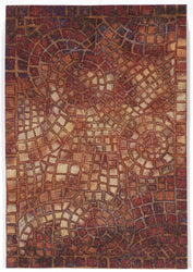 Visions V Arch Tile Red Indoor/Outdoor Rug