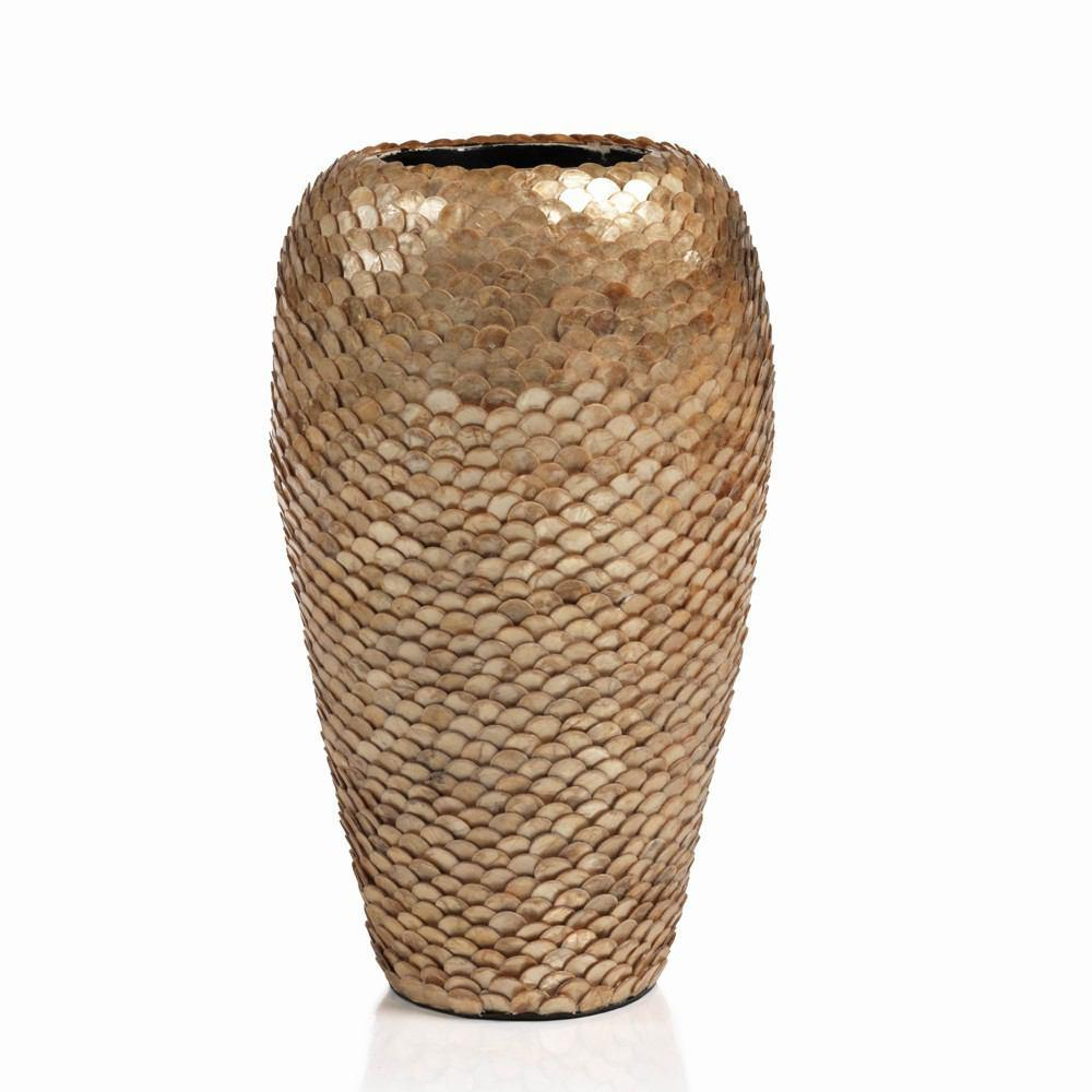 Zodax 16-Inch Tall Seychelles Capiz Covered Bamboo Vase