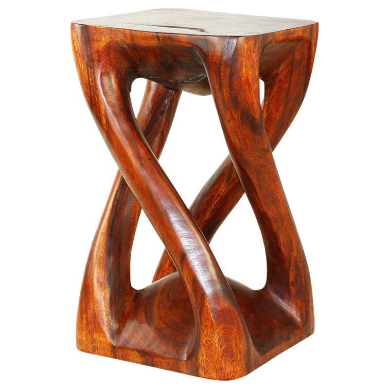 "Haussmann Vine Twist Stool 14"" Sq - Cherry Intensive"
