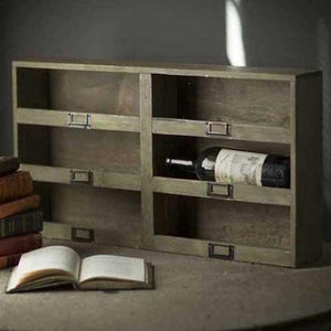 Vagabond Vintage Wine Box with 6 Cubbys and Metal Tag Holder
