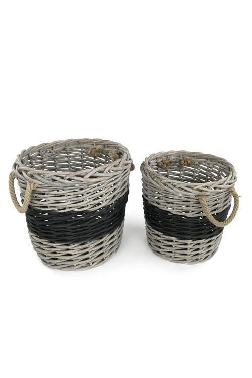 Vagabond Vintage Round Willow Baskets with Black Band - Set of 2