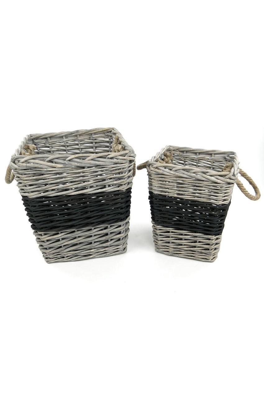 Vagabond Vintage Square Willow Baskets with Black Band - Set of 2