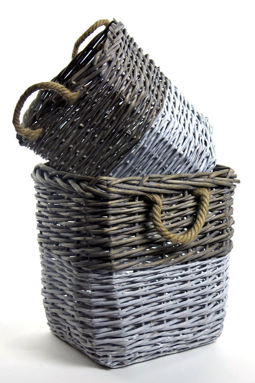 Vagabond Vintage Square Willow Baskets Dipped White