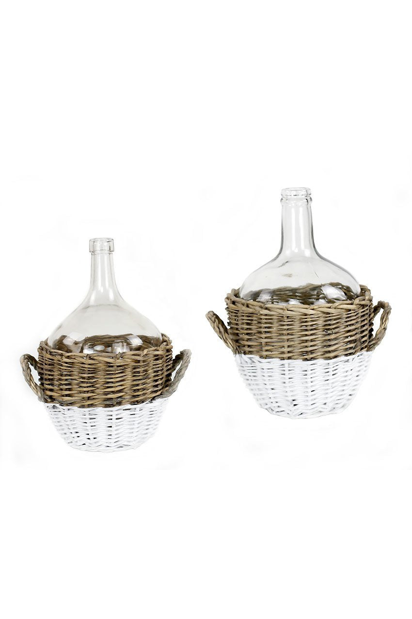 Glass Demijohns with Handled Wicker Base
