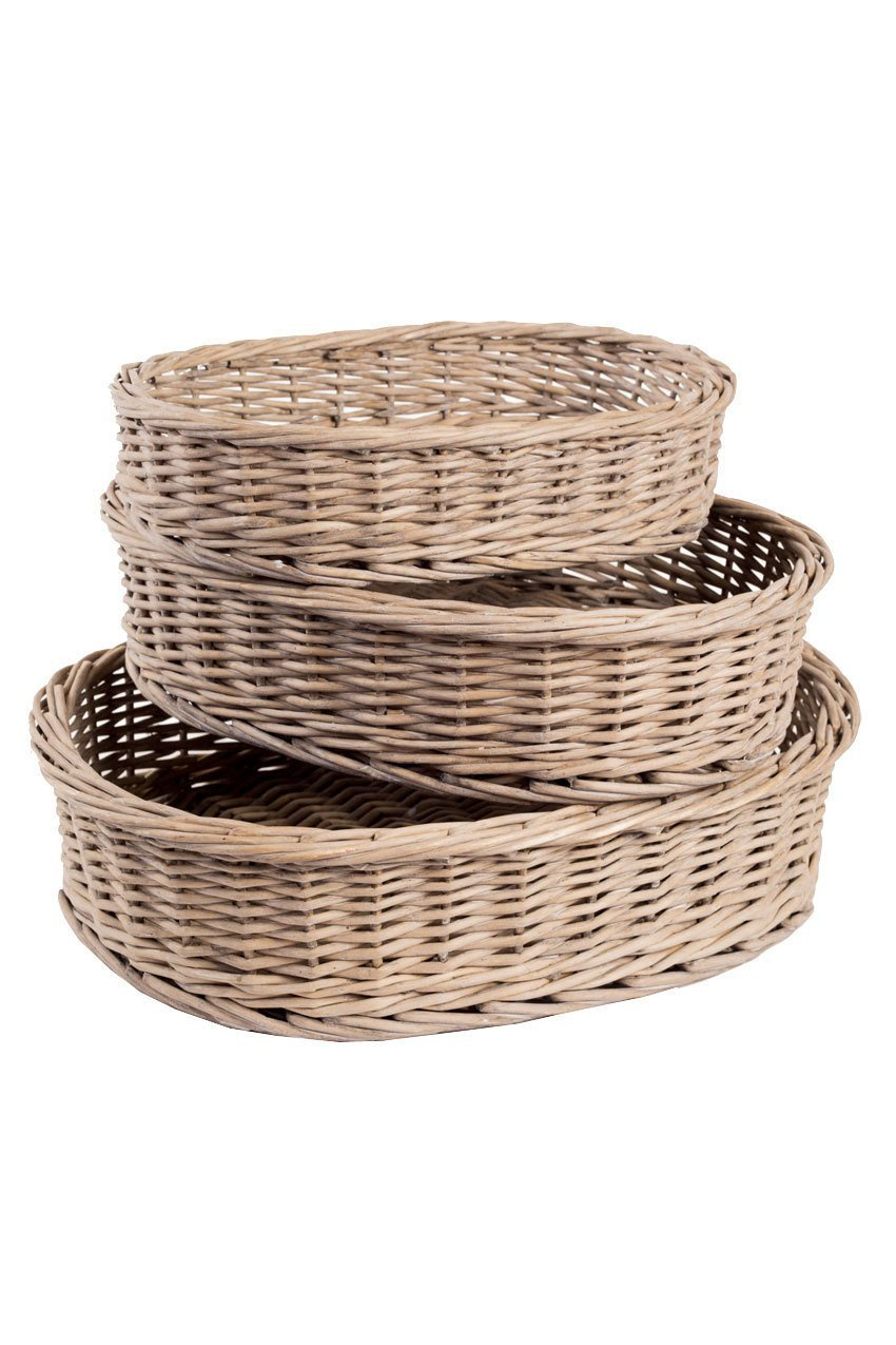 Vagabond Vintage Set of Three Willow Oval Baskets