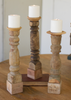 Kalalou Assorted Wooden Candle Stands - Antique Turned Banisters - Set Of 3