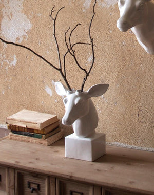 Kalalou Table-Top Ceramic Deer Head - White