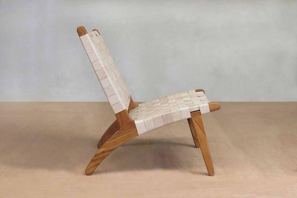 Natural Leather Woven Lounge Chair by Masaya
