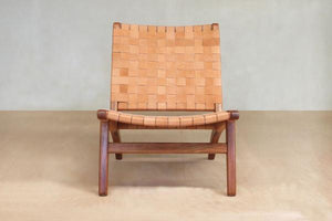 Barley Leather Woven Lounge Chair