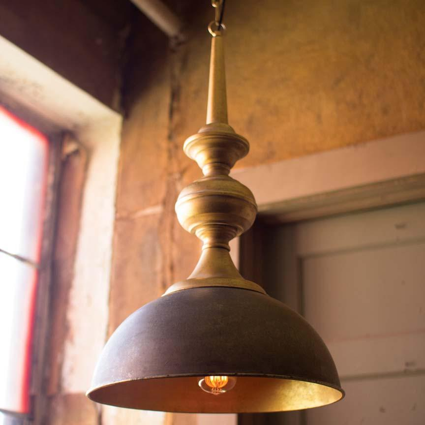 Kalalou Metal Pendant Light With Antique Gold Finish
