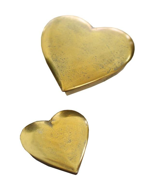 Kalalou Cast Aluminum Heart Boxes - Set Of 2