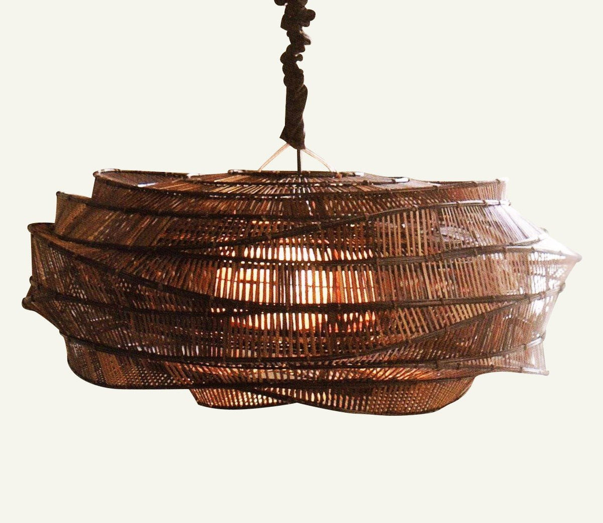 Thai Bamboo  INtricate Woven  Low Cloud Chandeliers