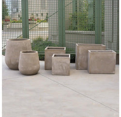 Gold Leaf Urbano Bell Fiber Clay Planters - Set/2