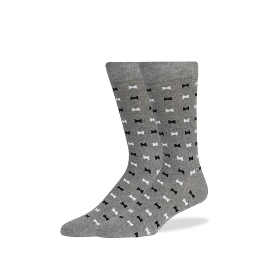 Light Gray & Black & White Bowties Socks