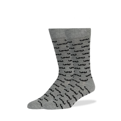 Light Gray & Black Mustache Socks