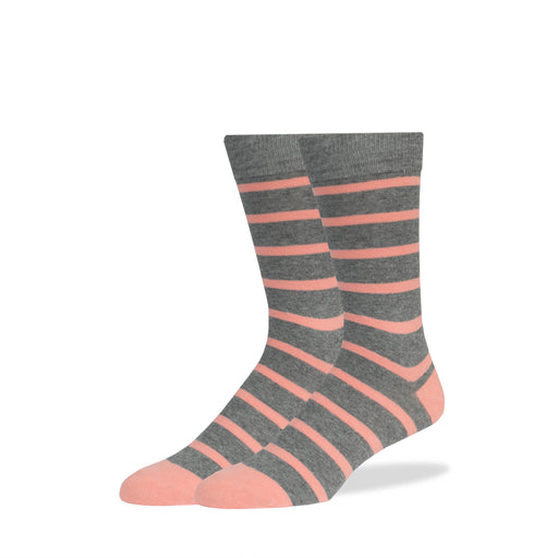 Heather Gray & Pink Stripe Socks