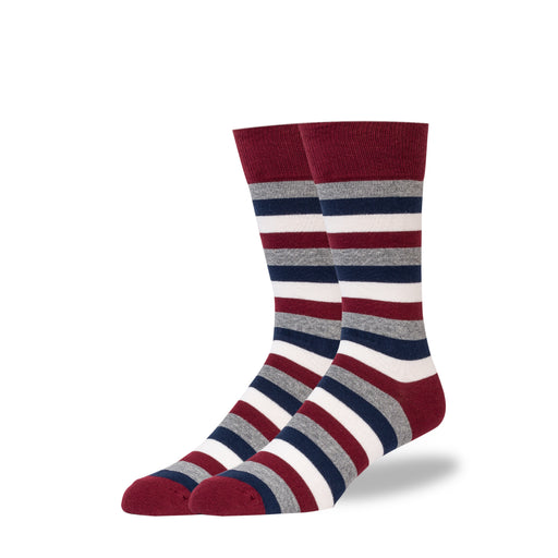 Maroon & Gray & Navy Stripe Socks