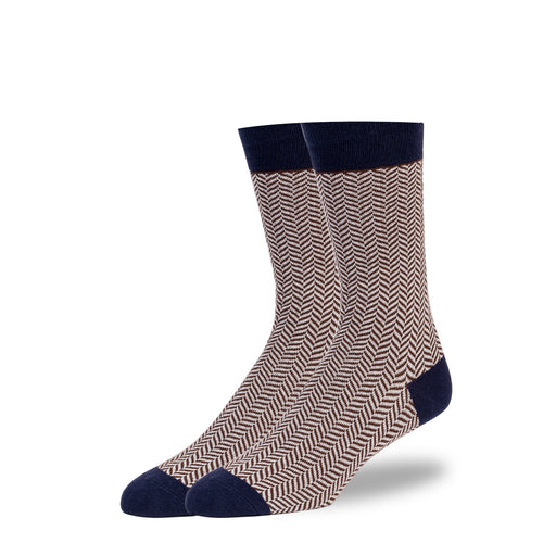 Navy & Brown Herringbone Socks