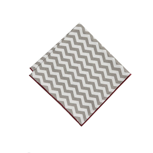 Pocket Square - Gray & Maroon Chevron Pocket Square (Brooklyn)