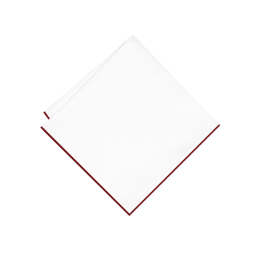 Pocket Square - White & Maroon Trim Pocket Square (Wall Street)